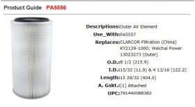 Baldwin PA5556 Filter Specifications
