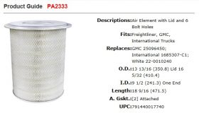 Baldwin Air Filter PA2333 Specifications