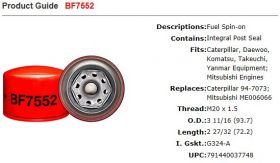Baldwin Fuel Filter BF7552 Specifications