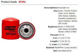 Baldwin Fuel Filter BF954 Specifications