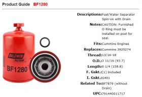Baldwin Fuel Filter BF1280 Specifications