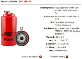 Baldwin Fuel Filter BF1289-SP Specifications