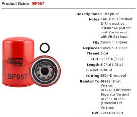 Baldwin Fuel Filter Suit KTA19-G4
