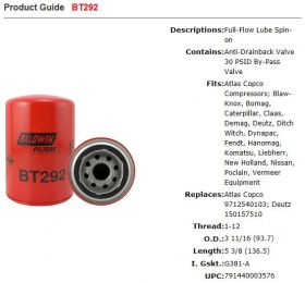 Baldwin BT292 UP75D3ST Deutz BF4M2012C